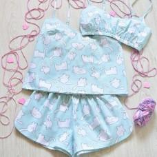 Пижама хлопковая Котята голубые