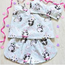 Пижама хлопковая Панды на мятном