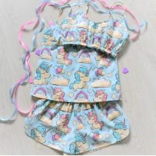 Пижама хлопковая Единороги на голубом 2