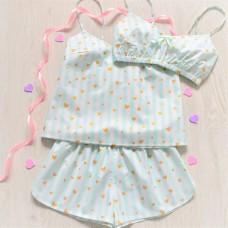 Пижама хлопковая мятная полоска