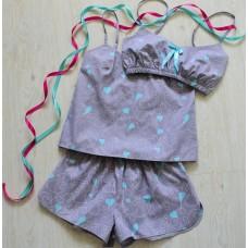 Пижама хлопковая голубые коты на сером