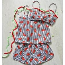 Пижама хлопковая Арбузы полоска