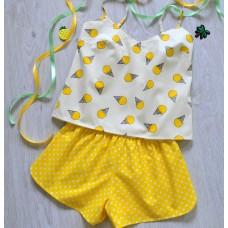 Пижама хлопковая Мороженки желтая