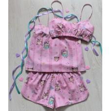 Пижама хлопковая совы на розовом