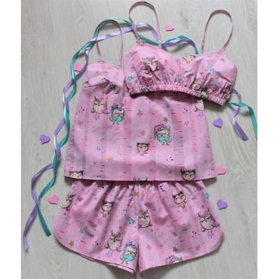 Пижама хлопковая совына розовом