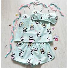 Пижама хлопковая Панды бирюзовая