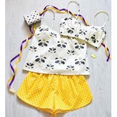 Пижама хлопковая Панды желтая