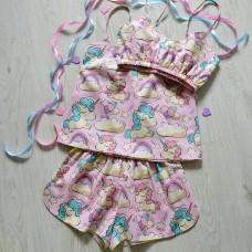 Пижама хлопковая единороги на розовом