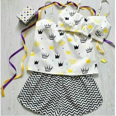 Пижама хлопковая Короны желтые