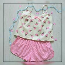 Пижама хлопковая Мороженки розовая