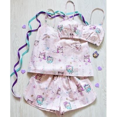 Пижама хлопковая совына бежевом