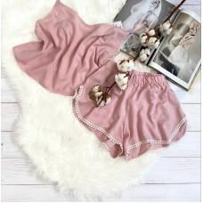Женская легкая пижама майка и шорты с кружевом розовая