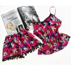 Пижама шорты и майка Микки малиновая
