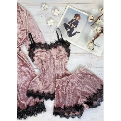 Велюровая пижама майка и шорты пудра