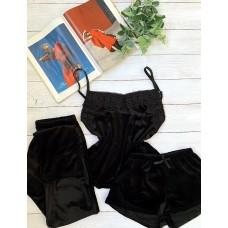 Велюровая пижама тройка черная майка, шорты, штаны