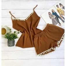 Пижама шорты и майка коричневая