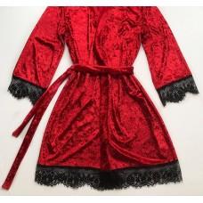 Женский велюровый халат красный