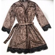 Женский велюровый халат мокко