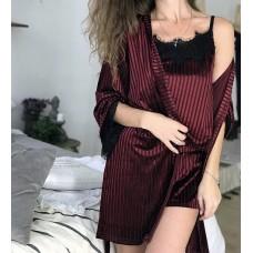 Женский велюровый халат в полоску бордо