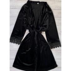 Женский велюровый халат черный