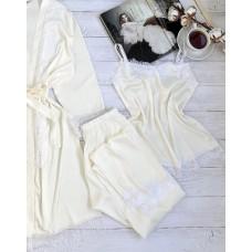 Женская шелковая пижама молочная