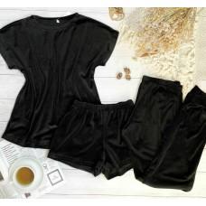 Плюшевая пижама тройка майка, шорты и штаны черная