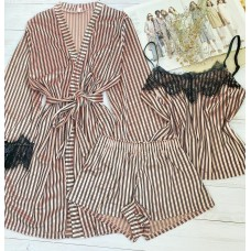 Женский велюровый комплект халат и пижама пудра в полоску