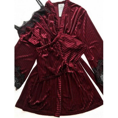 Женский велюровый комплект халат и пижама бордо в полоску