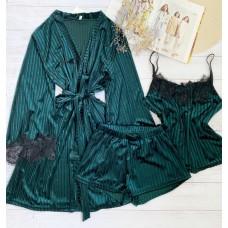 Женский велюровый комплект халат и пижама изумруд в полоску