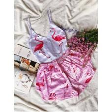 Шелковая пижама flamingo rose