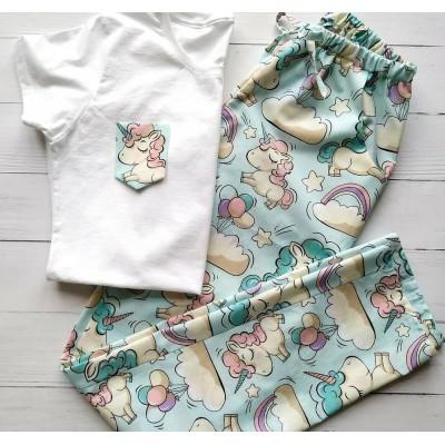 Пижама хлопковая футболка и штаны единороги голубые