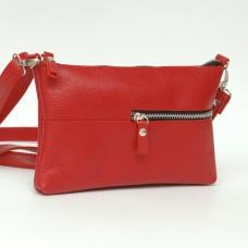 Кожаная женская сумка Мира красная