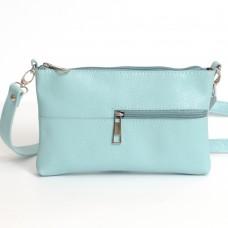 Кожаная женская сумка Мира голубая