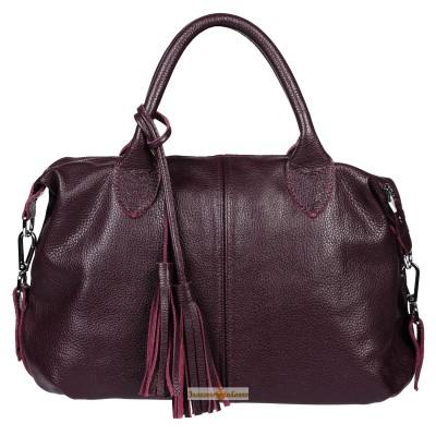Кожаная женская сумка Барселона виноградная