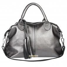 Кожаная женская сумка Барселона никель