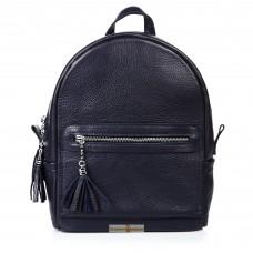 Кожаный женский рюкзак Meri темно-синий