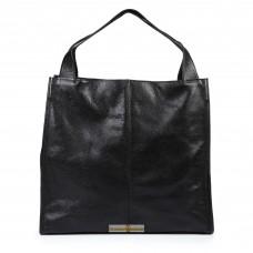 Кожаная женская сумка Mesho черная