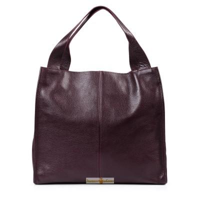 Кожаная женская сумка Mesho виноградная