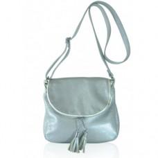 Кожаная женская сумка Марсель серебристая