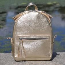 Кожаный женский рюкзак Meri золотой