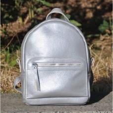 Кожаный женский рюкзак Meri серебро