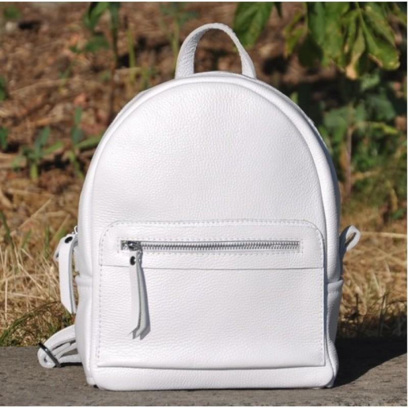 f50fb040efd8 Кожаный женский рюкзак Meri белый производства Украины