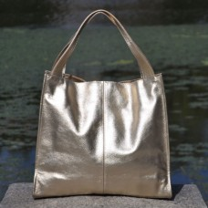Кожаная женская сумка Mesho золото