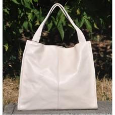Кожаная женская сумка Mesho молочная