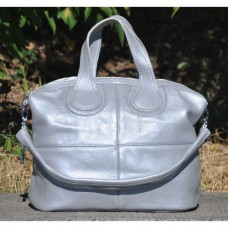 Кожаная женская сумка Nightinghale серебристая