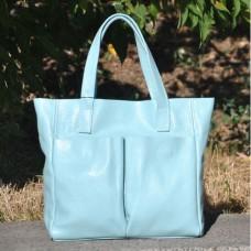 Кожаная женская сумка Палермо голубая