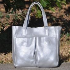 Кожаная женская сумка Палермо серебристая