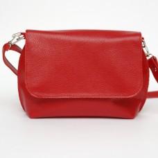 Кожаная женская сумка Ева красная