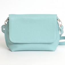 Кожаная женская сумка Ева голубая