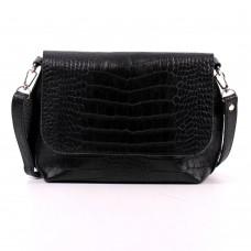 Кожаная женская сумка Ева кайман черная